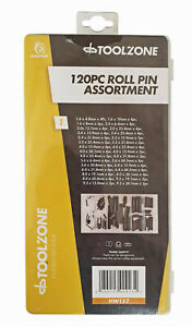 Roll Pin Assortment Set 120 Piece Assorted Mixed Pack in Strong Poly Case