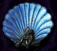 Bernard Instone Vintage Art Deco Antiguo Esmaltado Imp diseño azul Shell Broche