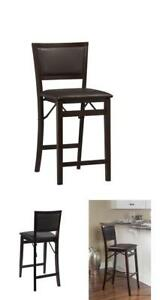 """24"""" In Keira Pad Back Folding Counter Stool Home Furniture Bar Tool Espresso New"""