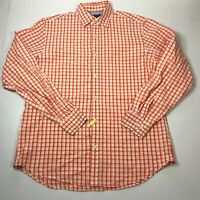 Mens Banana Republic Long Sleeve Button Up Shirt Orange Plaid Slim Fit Soft Wash