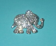 Elephant Pin Crystal Accents Silver Tone New Sparkly Jewelry Wild Animals