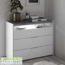 Comò Full 3 cassetti bianco opaco cemento design moderno camera