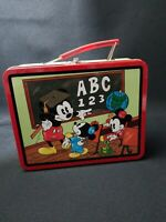 "Vintage Disney MICKEY MOUSE TIN LUNCH BOX 1997 school days 7.5"" x 6"" series 2"