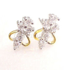 Women Girls Stud Earrings Simulated Diamond Cluster White Yellow Gold Plated UK