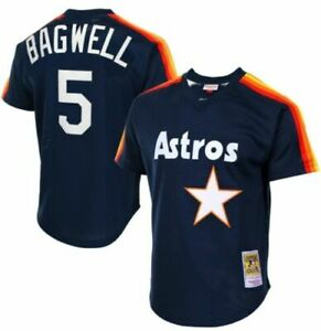 BAGWELL HOUSTON ASTROS MLB MITCHELL & NESS MESH BATTING PRACTICE JERSEY  M  NEW