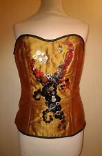 sale Orange red corset bodice top, size 14 to 16, button fastener, metal boned