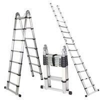 A-Frame 14.44 FT Aluminum Ladder Telescopic Extension Tall Multi Purpose EN131