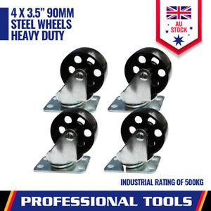4-Piece Heavy Duty 3.5''  Steel Castor Wheel Swivel Steel Caster  Wheel 2000KG