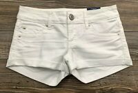 American Eagle Shortie Shorts Women's Size 00 Super Low Stretch White Denim