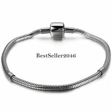 "Stainless Steel 3mm 8.5"" Round Snake Chain Bracelet for European Charm Beads"