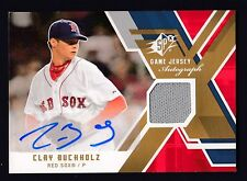 Clay Bucholz 2009 SPX Game Worn Jersey Autograph Card Red Sox