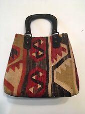 Turkish Kilim Tapestry Carpet Bag Handbag Purse Yun Art Boho Wool Leather