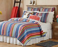Pioneer Woman Cotton Reversible Barn Dance Quilt Comforter Stripe King 104 X 92
