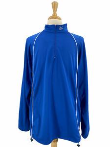 Mizuno Men's Casual Alpha Half Zip Performance Shirt XL Long Sleeve Blue Stretch