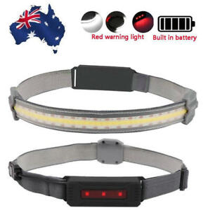 USB Rechargeable COB LED Headlamp Headlight Lightweight Head Torch 3 Modes SR