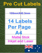 14Labels X 250 sheets A4 Matte Inkjet and laser Label Paper Sticker Adhesive