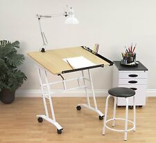 Drafting Drawing Desk Table Craft Center Adjustable Angle Artist Art Rolling New