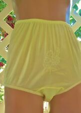"""SUNNY YELLOW EMBROIDERED SATIN """"NOT YOUR GRANNY'S"""" PANTY BRIEF 6/M"""