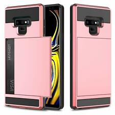 Samsung Galaxy Note 9 Case Credit Card Slots Holder Rugged Protective Cover PINK