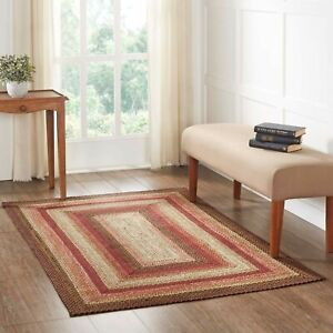 VHC Ginger Spice Burgundy Tan Creme Country Rectangle Braided Rug W/Pad