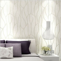 10M Wall Paper Non-woven Roll 3D Lines Fine Flocking Embossed Textured Wallpaper