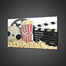 MOVIE CLAPPER BOARD POPCORN FILM CINEMA CANVAS PRINT WALL ART PICTURE PHOTO
