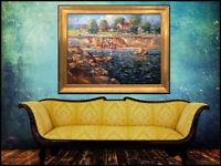 Tom Perkinson Original Oil Painting On Canvas Large Signed Landscape Framed Art