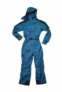 Vtg. North Face Extreme Gortex Ski Snow Suit 1 Piece Teal Blue Size 14 Women