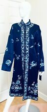 RALPH LAUREN LONG KIMONO JACKET $1,095.00 TAG ORIENTAL EMBROIDERED LINED BLUE