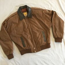 Hunters Run Brown Suede Leather Coat Bomber Jacket Size Small