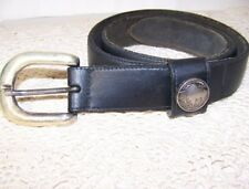 Buffalo Nickle Belt Black Leather Brass Buckle M Coin Money Western Cowboy
