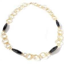 Technibond Black Onyx GEMSTONE Circle Chain Necklace 14k Yellow Gold Clad Silver