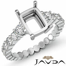 Diamond Engagement Cushion Semi Mount Shared Prong Ring 18k White Gold 0.70Ct