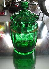 ANTIQUE 1800's  EMERALD GREEN GILT AND ENAMELED GLASS BISCUIT BARREL COOKIE JAR