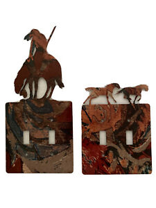 Switch Plate Covers Native American Horses Outline Enamel Lot Of 2