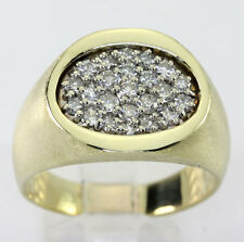 Mens diamond ring 14K 2tone gold round brilliant 1.05CT 15.5g Florentine sz12.75