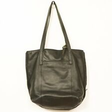 Lucky Brand Pebbled Leather Shoulder Bag Black Whipstitch Purse Double Strap