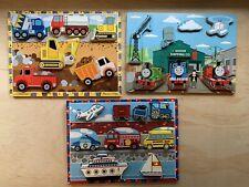 Melissa Doug Wooden Puzzles: Thomas, Construction Vehicles, Transportation