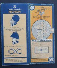 Carte MICHELIN old map n°68 NIORT CHATEAUROUX 1948 Guide Bibendum pneu tyre