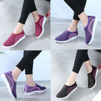 Walking Women's Mesh Flat With Cotton Casual Stripe Sneakers Loafers Soft Shoes