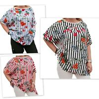 Wolfairy Plus Size Summer Striped Floral Top Blouse Tunic Lagenlook Short Sleeve