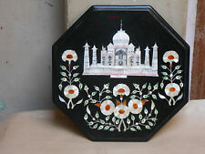 "OCTAGON  12""X12"" BLACK MARBLE  COFFEE SIDE TABLE TOP MOSAIC TAJ MAHAL INLAY WORK"