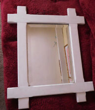 Primitive Farm House ,Cottage Shabby Beveled Mirror Vintage Wood Frame ~FREE SH~
