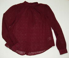 Free People Blouse Shirt S After Midnight Chevron Merlot F142T624 NWT