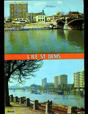 L'ILE SAINT-DENIS (93) MAIRIE & PENICHE sur la SEINE en 1984