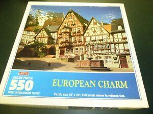 """Hoyle 550 Piece Jigsaw Puzzle European Charm 18"""" x 24"""" Mittenwald, Germany 1996"""