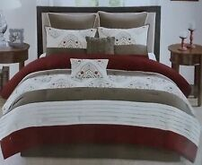 8 Pc Queen Stitched Medallion Comforter Bed Set in a Bag ~ New Brown Burgundy