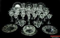 Vintage 36 Piece Set Tiffin Franciscan Cherokee Rose Etched Glass Goblets Plates