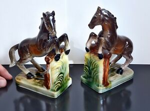 Lovely Vintage Ceramic / Pottery Rearing Horse Bookends / Book Ends. Equestrian