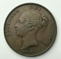 Dated : 1847 - Copper Coin - One Penny - Queen Victoria - Great Britain
